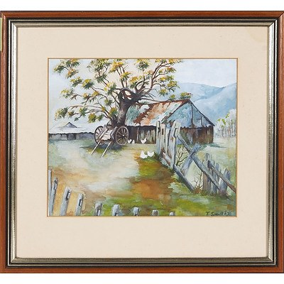 'Farm Shed with Cart and Chickens' - T Small 1962, Watercolour Framed Under Glass