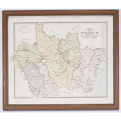 Map of The Counties of Harden, King, Argyle Etc C.1886 By John Sands (1818-73). Colour Lithograph Behind Glass in Pressed Wood Frame