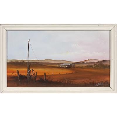 'Remote Homestead Out West' - R J Gregor 1988, Oil On Board