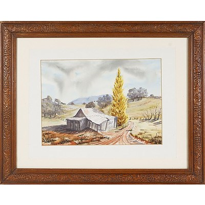 'Old Shearing Shed', Watercolour Under Glass in Pressed Wood Frame