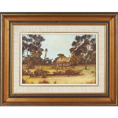 'Bush Cottage and Windmill' - J L Charter 1977, Oil On Board