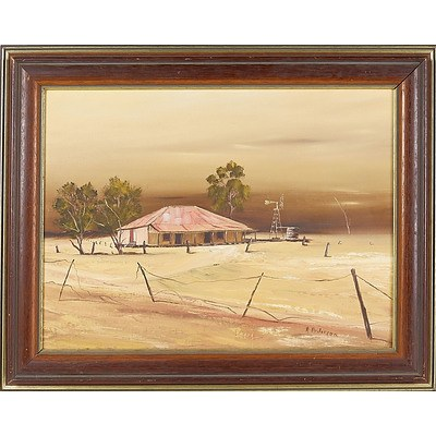 'Outback Homestead' - R Patterson, Oil On Board