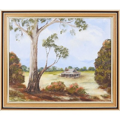 'Bush Cottage' - B Armour, Oil On Board