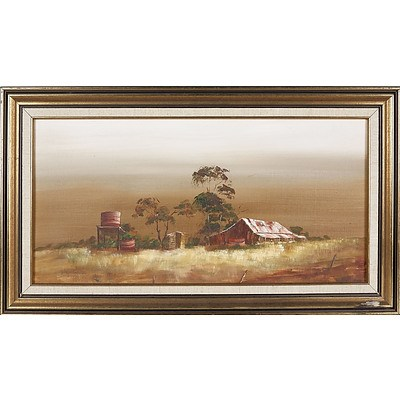 'Farm Homestead' - Judy Cadden, Oil On Board
