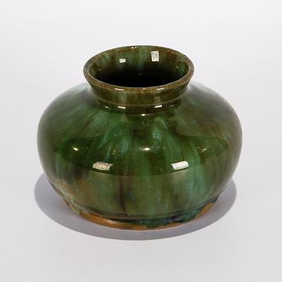 John Campbell, Tasmania. Posy Vase with Green Drip Glaze. Incised JC 1932