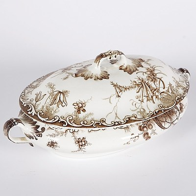 Staffordhire Brown Wattle and Heath Tureen C.1900, Made For GDS