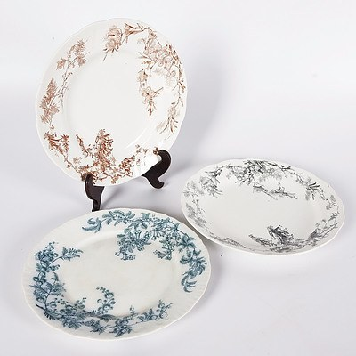 3 Wattle and Heath Plates: Black Doulton Made For Levy Bros; Brown Doulton Made For FG & Co; and Dark Blue Made For Burgess & Lee