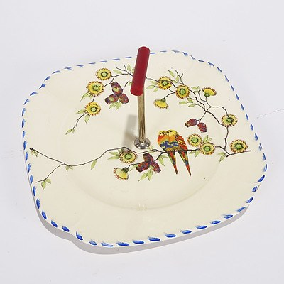 Cake Plate, Burselm Parrott & Co, Staffordshire, Showing Coloured Parrots and Eucalyptus Flowers and Fruits