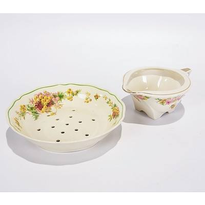 Royal Doulton Wattle and Rose Strainer Bowl and Jug