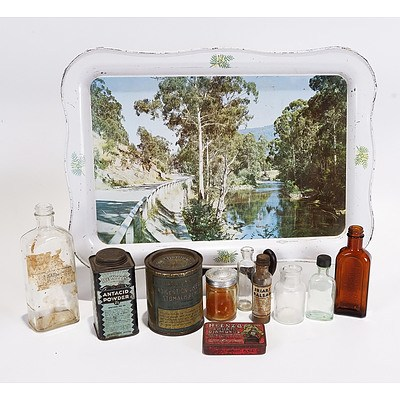 Willow Tray River Scene with 10 Assorted Medical Tins and Bottles