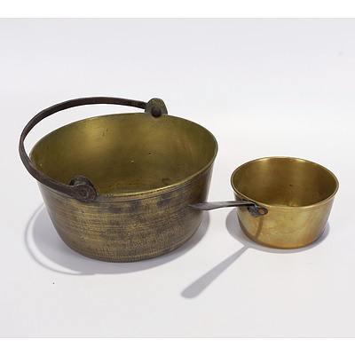Brass Preserving Pan and Milk Pan