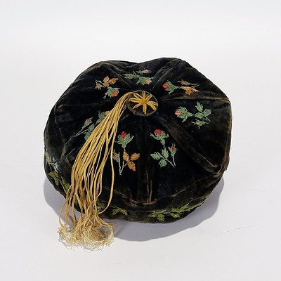 Black Velvet Smoker's Hat with Hand Embroidery and Gold Tassle