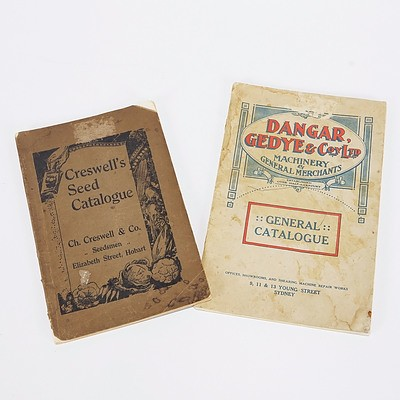 Dangar, Gedye & Co General Catalogue 1917; Cresswells Seed Catalogue, Hobart 1928