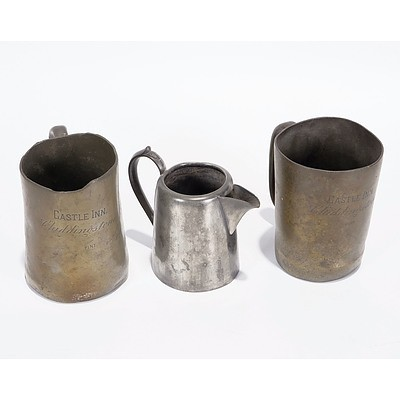 2 X Pewter Pint Mugs inscribed 'Castle Inn, Chiddingstone' and Silver Plate Jug