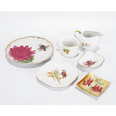 6 X Assorted Australiana China, Comprising 2 Plates, 2 Jugs and 2 Pin Dishes