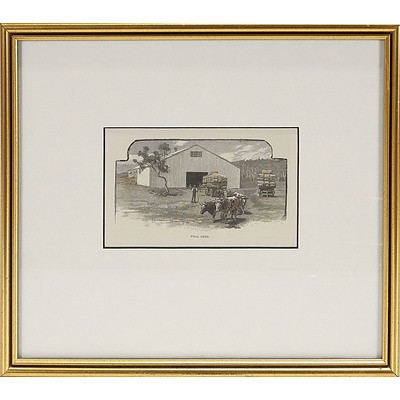 'Woolshed', Engraving Showing Bullock Wagon Taking Wool Bales From Wool Shed