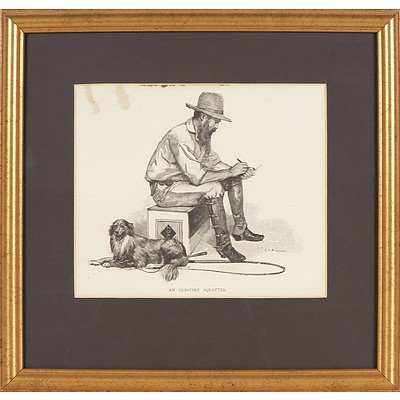 'An Old Time Squatter', Print of Sketch By J R (Julian) Ashton