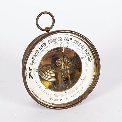 Brass Aneroid Maritime Barometer Used For Many Years On A Farm At Temora - Not Working