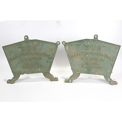 Late Addition - Pair of Cast Iron Ends From 'Sun Seed and Fertilizer Drill', HV McKay Maker Sunshine