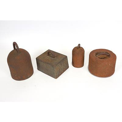 Late Addition - 4 x Cast Iron Weights from Chaff Cutters
