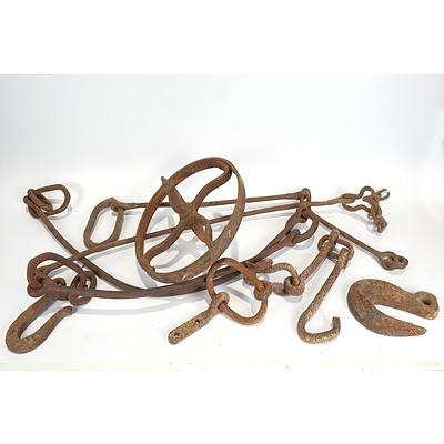 Late Addition - Assorted Blacksmith Made Bullocks Chains etc and Blacksmith Made Steel Wheel from Wheelbarrow