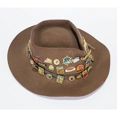 Akubra Hat with 50 Badges