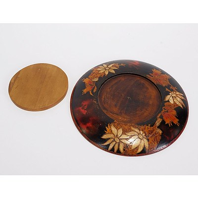 Pokerwork Bread/Cutting Board with Flannel Flowers and Christmas Bells