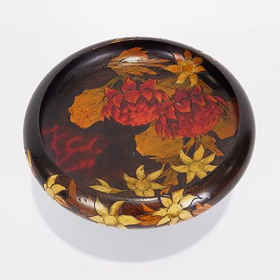 Pokerwork Nut/Fruit Bowl with Waratah and Flannel Flowers