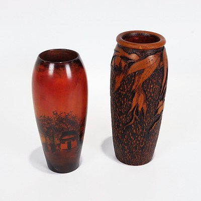 Two Pokerwork Vase/Spill Holders, One Gum Nuts and Leaves and One Rural Scene with House, Boats and Trees