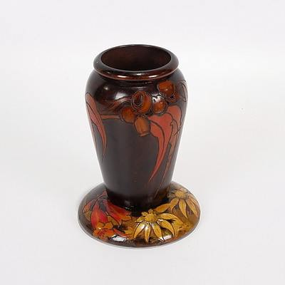Pokerwork Vase/Spill Holder with Gum Nuts and Leaves and Pokerwork Pin Tray with Flannel Flowers and Christmas Bells