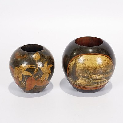 Two Pokerwork Vase/Spill Holders, One with Flannel Flowers & Gum Leaves and One Scene of Alexandra Gardens, Melb Signed V Greig Early 20C