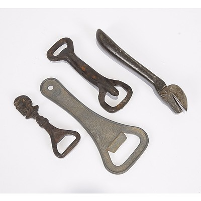Cast Iron Tin Opener; Two Cast Iron Bottle Openers and Large Bottle Opener