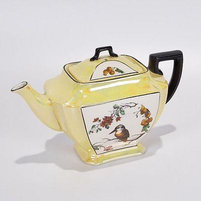 Lustreware Teapot with Kookaburra and Wattle and Christmas Bush Decoration, Black Handles. Lancaster & Sons, Hanley, England 1906-30
