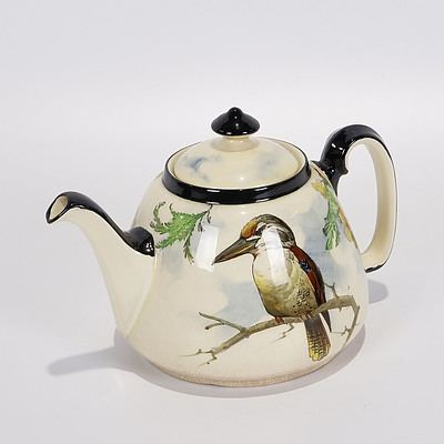 Rare Royal Doulton Kookaburra and Wattle Teapot with Black Handle and Trim, Pattern D4206 (C.1925)