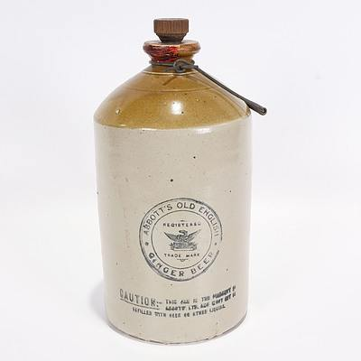 Abbott's Old English Ginger Beer Stoneware Phoenix Gallon Demijohn, Two Tone with Stopper and Bendigo Pottery Mark to Reverse