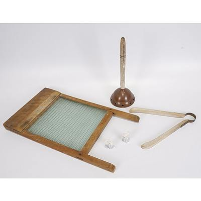 Glass Washboard, Simplex No 6 Copper Washing Posser with Wood Handle, Wooden Laundry Tongs and 2 Laundry Blue Bags