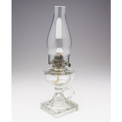 Clear Pressed Depression Glass Greek Key Pattern Table Oil Lamp with Handle and Square Base
