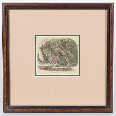 'Blacks Under Gunyah', Framed Tinted Print