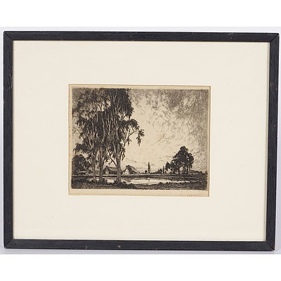 Framed Copper Etching of Rural Scene with Homestead Signed G Marler, One of 9 Pseudonyms Used By Alfred Edward Warner, 1879-1968