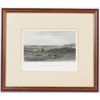 'The Cow Pastures, New South Wales', Framed Hand Coloured Engraving C.1874 By John Skinner Prout