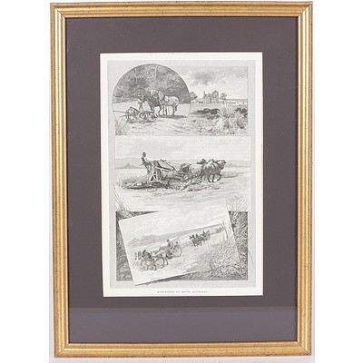 'Harvesting in South Australia', Framed Linotype with Images of a Stump Jump Plough, Hay Harvest and Reaping