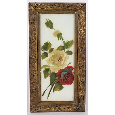 Framed Oil Painting of Roses, Painted On Glass