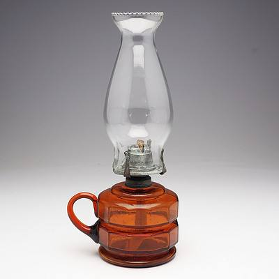 Amber/Brown Glass Faceted Finger Oil Lamp
