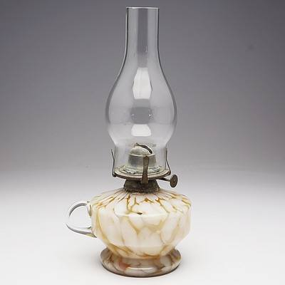 Mottled Gold/White Glass Finger Oil Lamp