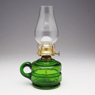 Green Faceted Glass Finger Oil Lamp