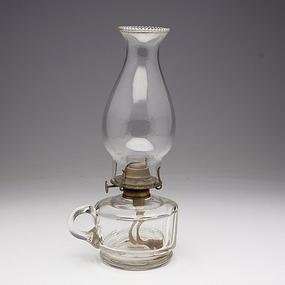 Clear Glass Faceted Finger Oil Lamp