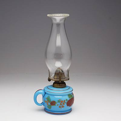 Blue Custard Glass Finger Oil Lamp with Hand Painted Flowers