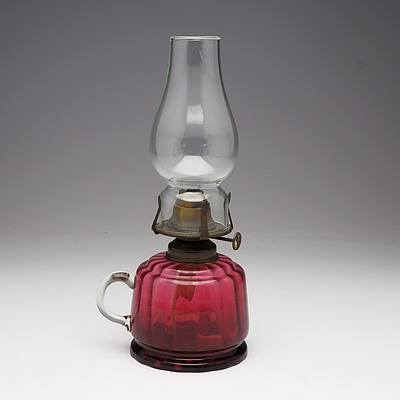 Cranberry Ribbed Glass Finger Oil Lamp