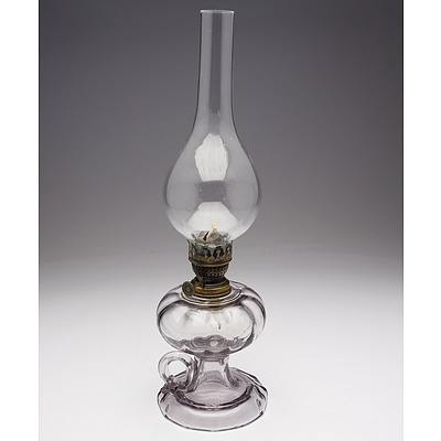Clear Ribbed Glass Finger Oil Lamp