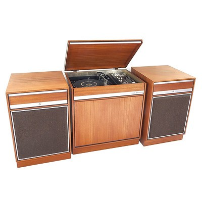 Pye Modular Magnetic Solid State 462 Turntable Cabinet with 2 Speaker Modules
